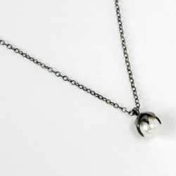 Lotus necklace - oxidised eco-silver and freshwater pearl