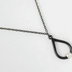 Tear drop pearl necklace - oxidised eco-silver with white freshwater pearl