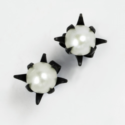 Flower stud earrings - Oxidised eco-silver with white freshwater pearls