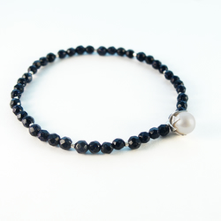 Lotus flower bracelet, eco-silver, white pearl, blue goldstone, elasticated