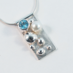 Under the sea necklace - eco-silver, granulated, freshwater pearl and blue topaz