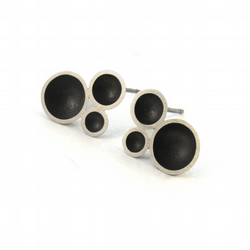 Contemporary bubble earrings - oxidised eco-silver black and silver