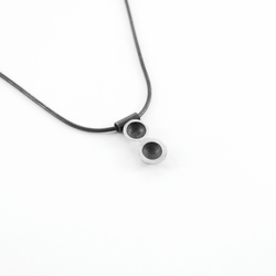 Oxidised bubble dop pendant, eco-silver, circles, domes, black and silver