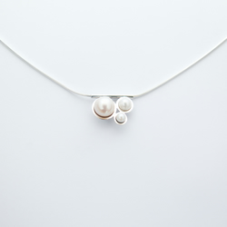 Bubble pearl necklace, polished eco-silver and white freshwater pearls