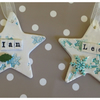 Ceramic Star Decorations. Snow Flake, Christmas, Personalised