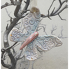 Porcelain hanging butterfly decoration. Christmas.