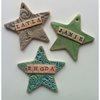 Ceramic Star Decorations. Christmas, Personalised