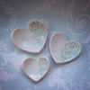 SALE Trio of porcelain heart trinket dishes with lace detail. Gift boxed.