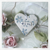 SALE Porcelain hanging Christmas heart with snowflake and lustre detail. WISH.