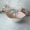 Handmade porcelain trinket dish With button and bow detail