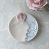 Porcelain Button ring dish, wedding, pottery.
