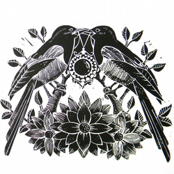 Two for Joy- Magpie Original Linocut Print