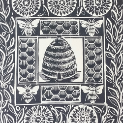 The Bee Hive Original Linocut Print, Slate Grey