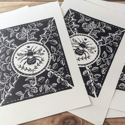 Little bee Lino print. Black
