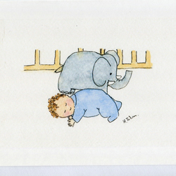Newborn Baby  boy with toy elephant - card