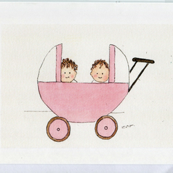 Twin baby girls in their pram- Card- handmade from original watercolour
