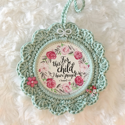 Crocheted Scripture frame