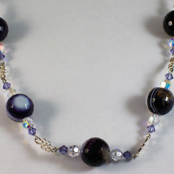 Purple Agate and Swarovski Crystal Necklace