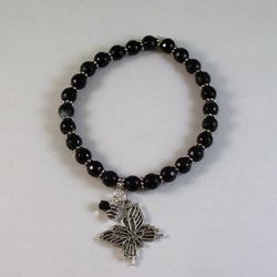 Stretchy Black Agate Bracelet With Butterfly Charm
