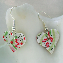 Hardened Fabric Floral Heart Earrings