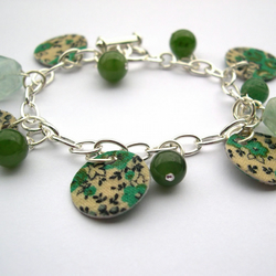 Hardened Fabric Green Ditsy Print Charm Bracelet with Semi Precious Stones