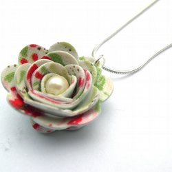 Hardened Fabric Floral Rose Necklace with Faux Pearl