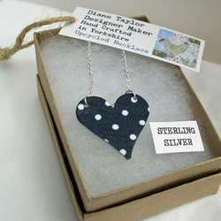 Unusual Gift 925 Sterling Silver Hardened Navy Polka Dot Fabric Heart Necklace