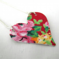 Hardened Fabric Valentines Day Red Heart Floral Necklace