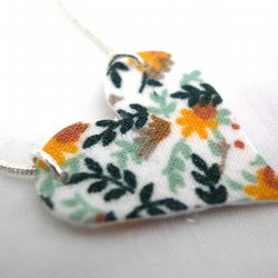 Yellow Ditsy Floral Hardened Fabric Valentines Day Heart Necklace
