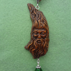 The Spirit of the Woods Green Man with Emerald colour bead Pagan Wiccan Pendant