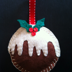 Felt and button Christmas pud decoration