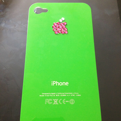iPhone 4s green with pink diamontes case