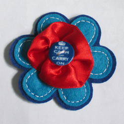 Keep Calm and Carry On Blue Button Felt Flower Brooch