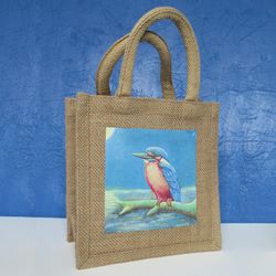 Jute Tote Bag with Kingfisher painting printed on