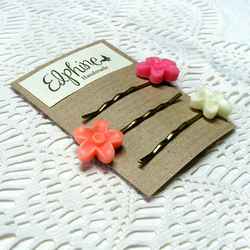 SALE! 50% off! Trio of Bobby Pins with Bright Flower Cabochons
