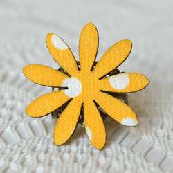 Statement Ring with Yellow Decoupage Flower