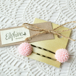 Pair of Bobby Pins with Pale Pink Dahlias