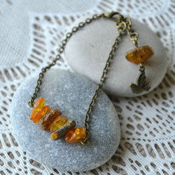 Amber Chip Bead Bracelet with Bird Charm