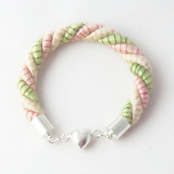 SALE - Pink and White Striped Magnetic Heart Cord (Rope) Bracelet