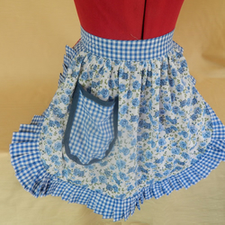 Vintage 50s Style Half Apron Pinny - Blue & White Roses with Gingham