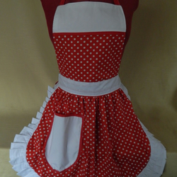 Vintage 50s Style Full Apron Pinny - Red & White Polka Dot with White Trim
