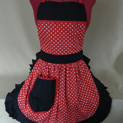 Vintage 50s Style Full Apron Pinny - Red & White Polka Dot with Black Trim