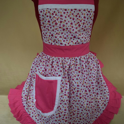 Vintage 50s Style Full Apron Pinny - Ditsy Pink & White
