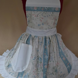 Vintage 50s Style Full Apron Pinny - Cream & Duck Egg Blue