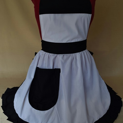 Vintage 50s Style Full Apron Pinny - White with Black Trim