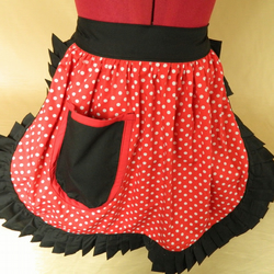 Vintage 50s Style Half Apron Pinny - Red & White Polka Dot with Black Trim