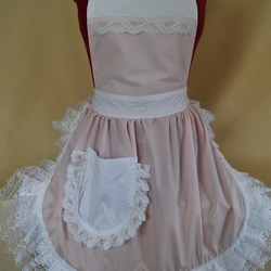 Vintage 50s Style Full Apron Pinny - Baby Pink & White with Lace Trim