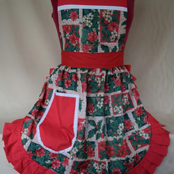 Vintage 50s Style Full Apron Pinny - Christmas Holly & Poinsettia With Red Trim