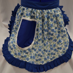 Vintage 50s Style Half Apron - Blue & White Roses with Blue Trim
