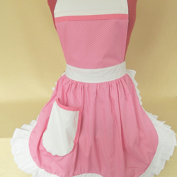 Vintage 50s Style Full Apron Pinny - Pink & White Polka Dot with White Trim